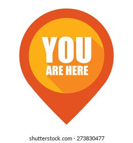 Orange You Are Here Map Pointer Icon Isolated on White Background