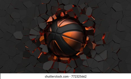 Orange-Black Basketball ball on cracked wall. 3D illustration. 3D high quality rendering.