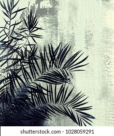 Orangery of the botanical garden: tropical palm trees. Digital drawing and watercolor texture.