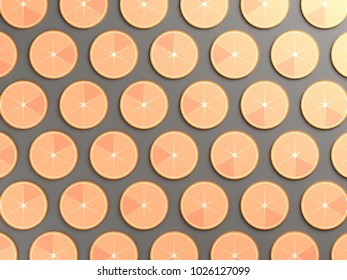 Oranges on gray color background