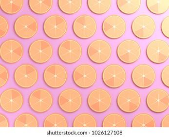 Oranges on pink color background