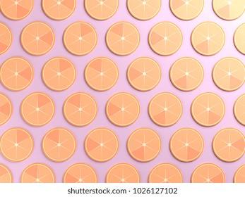 Oranges on purple color background
