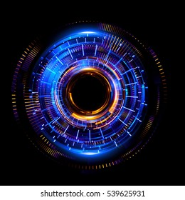 Orb neon rays. luminous hole. Spiral cover.  Black neural HUD. Halo around. Power isolated. Sparks particle. Space tunnel. Glossy face. LED color ellipse. Glint gold glitter. Glow clock. Iris eye