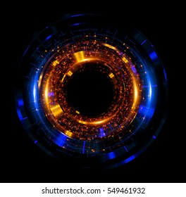 Orb neon rays. luminous hole. Spiral cover. Black neural HUD. Halo around. Power isolated. Sparks particle. Space tunnel. LED color ellipse. Glint gold glitter. Glow clock. Bobot iris eye. Big data