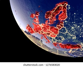 Orbit view of OECD European members at night with bright city lights. Very detailed plastic planet surface. 3D illustration. Elements of this image furnished by NASA.
