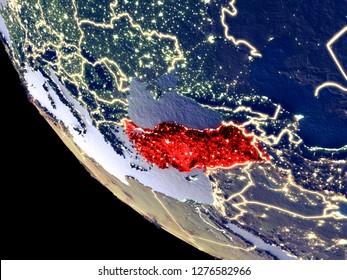 Orbit view of Turkey at night with bright city lights. Very detailed plastic planet surface. 3D illustration. Elements of this image furnished by NASA.