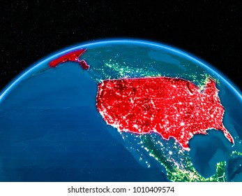 Satellite View USA Highlighted Red On Stock Illustration 1054268558 ...