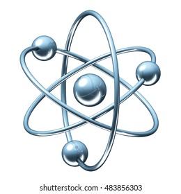 Orbital model of atom - physics 3D illustration