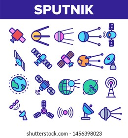 Orbital Sputnik Linear Icons Set. Sputnik Thin Line Contour Symbols. Cosmos Exploration, Astronautics Pictograms Collection. Satellite Dish, Space Shuttle, Radar Tower Outline Illustrations