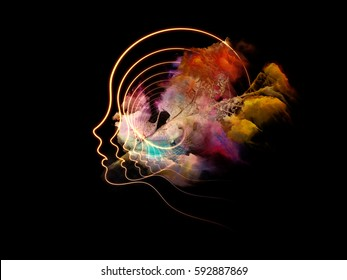 Orbits of the Mind series. Background design of human profiles, fractal structures and surreal leaf on the subject of mind, imagination and inner space