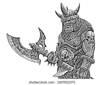 Orc with ax. Fantasy black white drawing. Barbarian creature illustration.