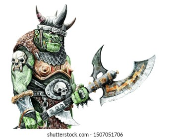 Orc with ax. Fantasy pencil drawing. Monster creature illustration.