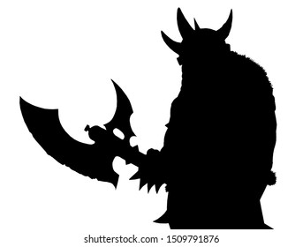 Orc with ax. Fantasy silhouette drawing. Barbarian creature illustration.