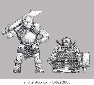 Orc and dwarf drawing. Fantasy illustration. Orc with ax.