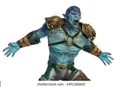 orc warrior is angry, 3d illustration