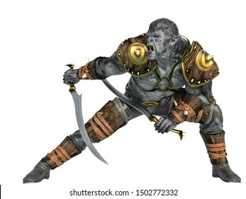orc warrior crouching with swords, 3d illustration