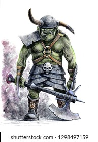 Orc warrior. Fantasy illustration. Orc with ax.