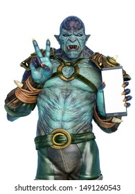 orc warrior holding a cellphone and doing a peace and love pose, 3d illustration