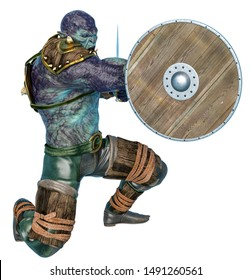 orc warrior holding a shield, 3d illustration