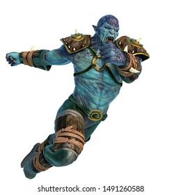 orc warrior jumping attack, 3d illustration