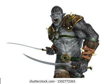 orc warrior marching with swords close up, 3d illustration