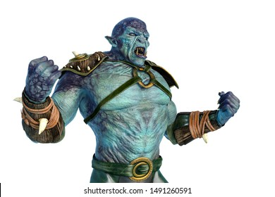 orc warrior is powerful, 3d illustration