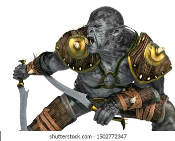 orc warrior with swords close up, 3d illustration