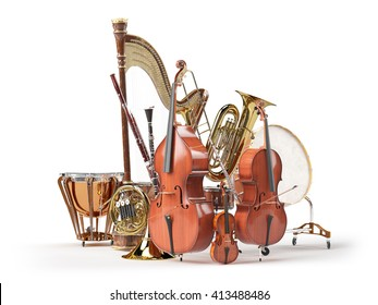 Orchestra musical instruments isolated on white 3D rendering