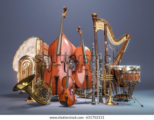 Orchestra musikalische Instrumente auf grauem Hintergrund. 3D-Rendering