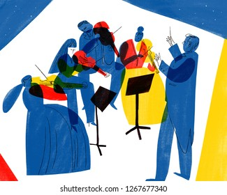 Orchestra playing illustration illustration on stage