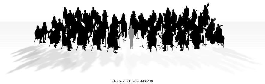 Orchestra in silhouette