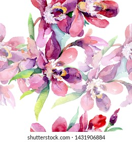 Orchid bouquets botanical flowers. Wild spring leaf wildflower. Watercolor illustration set. Watercolour drawing fashion aquarelle. Seamless background pattern. Fabric wallpaper print texture.