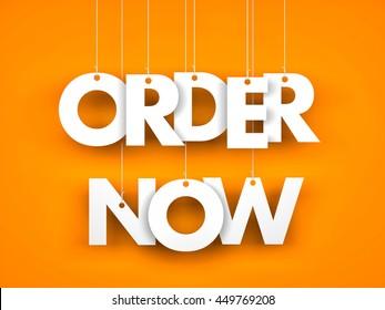 Order now - word hanging on orange background. 3d illustration
