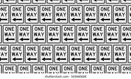 Ordered grid of left pointing one way traffic signs. This image is a 3d illustration.