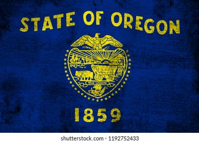 Oregon grunge and dirty flag illustration. Perfect for background or texture purposes.
