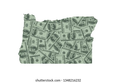 Oregon State Map and Money Concept, Hundred Dollar Bills