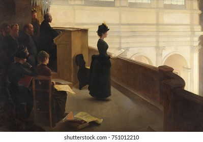 The Organ Rehearsal, by Henry Lerolle, 1885, French painting, oil on canvas. Singer in the choir loft of the church of Saint-Francois-Xavier in Paris is precisely rendered. The artist includes his