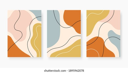 Organic abstract shapes. Pastel colored random paint stains collage. Trendy minimal design with fluid bubble, modern  posters. Creative chaotic painted elements set illustration