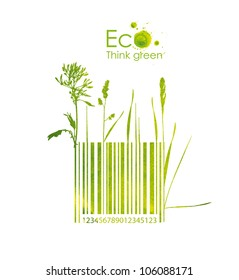 Organic barcode, hand drawn from watercolor stains, isolated on a white background. Think Green. Eco Concept.
