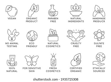Organic cosmetics icon. Eco friendly cruelty free line badges for beauty products and vegan food. No animal tested, natural icons  set