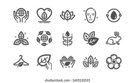 Organic cosmetics icons. Slow fashion, synthetic fragrance, fair trade. Sustainable textiles, animal testing, eco organic icons. Classic set. Quality set.