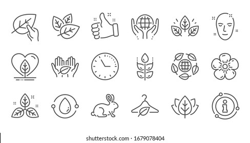 Organic cosmetics line icons. Slow fashion, synthetic fragrance, fair trade. Sustainable textiles, animal testing, eco organic icons. Linear set. Quality line set.