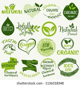 Organic food, farm fresh and natural product labels and badges collection for food market, ecommerce, organic products promotion, grown without chemical.