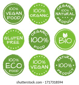 Organic food, natural products icon set. Eco, Bio and Vegan green labels or logos. Gluten free badge.