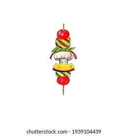 Organic Grilled Vegetable shish Kebab with peppers, mushrooms, and onions. Watercolor hand drawing illustration