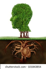 Organic living and healthy lifestyle concept with a tree in the shape of a human head and roots in the form of a heart organ as a vegetarian life eating vegetables and fruit for a growing body.