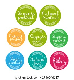 Organic, natural product logo and label. Handwritten lettering