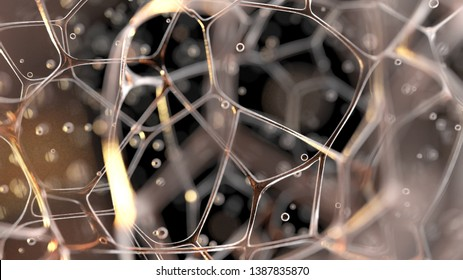 organic net structure, 3d illustration