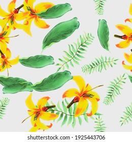 Organic Pattern Textile. Gray Seamless Design. White Pattern Hibiscus. Yellow Floral Palm. Golden Decoration Illustration. Green Wallpaper Hibiscus. Flower Textile.