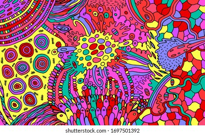 Organic psychedelic colorful pattern. Multicolor stoner illustration. Waterdrops and plants elements. Zendoodle art for relaxation. Raster artwork.